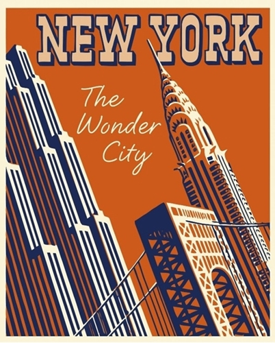 The Wonder City NY New York Art Deco Digital Cotton Fabric Panel