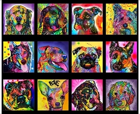 Doggie Daze Large Dog Patches Graffiti Art Black Cotton Fabric Panel
