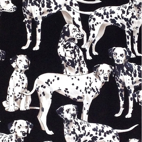 Pure Breeds Dalmatian Dogs Black and White Puppy Dog Cotton Fabric