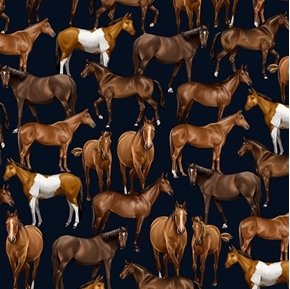 Horses Western Life Realistic Horse Thoroughbreds Navy Cotton Fabric
