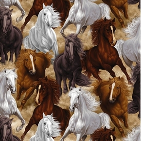 Horses Western Life Running Large Horse Stampede Cotton Fabric