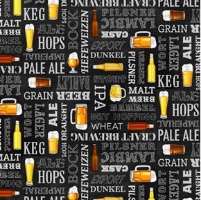 Beer Tasting Grab Me A Beer Words IPA Ale Lager Black Cotton Fabric