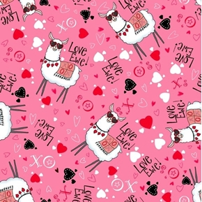Love Ewe Toss Valentine Llamas Hearts and Kisses Pink Cotton Fabric