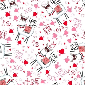 Love Ewe Toss Valentine Llamas Hearts and Kisses White Cotton Fabric