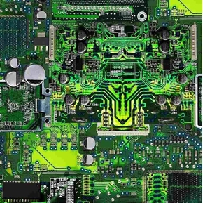 Math and Science Circuit Board Electronic Computer Green Cotton Fabric