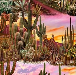 Southwest Dessert Landscape Cactus Sunset Scene Cotton Fabric