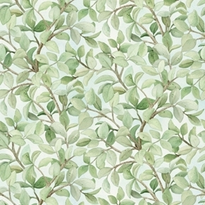 Beautiful Birds Leaves Tree Branches Azure Green Cotton Fabric