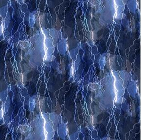 Aurora Crackling Lightning Bolts Electrical Storm Blue Cotton Fabric