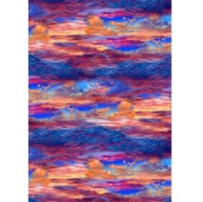 Southwest Dessert Sky Blue Violet Orange Sunset Sky Cotton Fabric