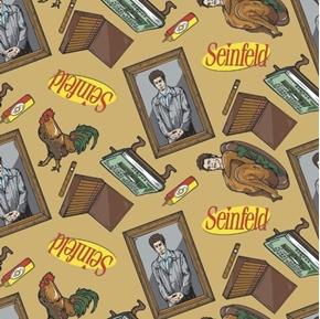 Seinfeld Kramer Icons Toss Turkey Cigars Tan TV Sitcom Cotton Fabric