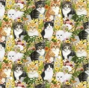 Animal Love Kittens and Daisies Cats Butterflies Kitten Cotton Fabric