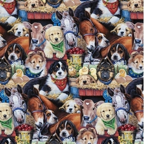 Animal Love Puppies at the Barn Dogs Horses Cows Chicks Cotton Fabric