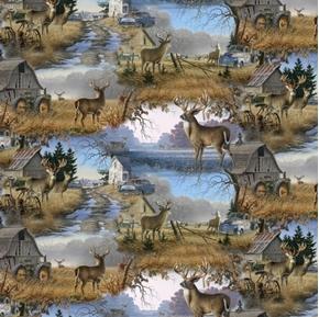 Animal Love Deer Neighborhood Bucks Farm Barns Tractors Cotton Fabric