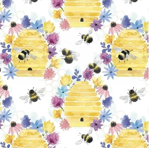 Bee Harmony Bumble Bees Hives Flowers White Cotton Fabric