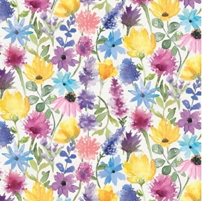 Bee Harmony Wildflowers Daisy Coneflower White Flower Cotton Fabric