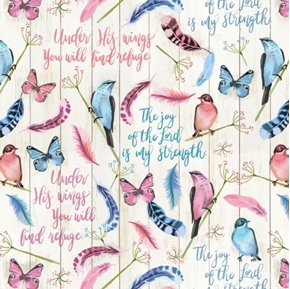 Under His Wings Find Refuge Inspirational Religious Birds Cotton Fabric