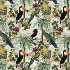 Vintage Vacation Tropical Birds Maps Toucan Cotton Fabric