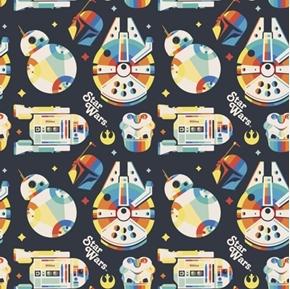 Star Wars Rainbow Empire C-3PO R2-D2 Ship Black Cotton Fabric