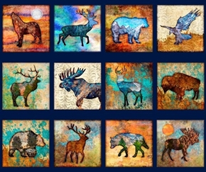 Untamed Animal Blocks Bear Moose Elk Deer Navy Cotton Fabric Panel