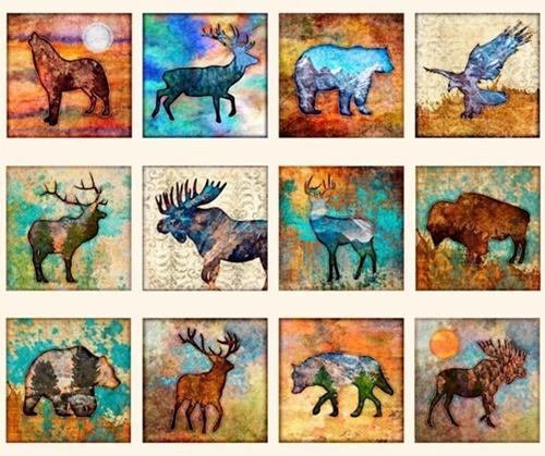 Untamed Animal Blocks Bear Moose Elk Deer Cream Cotton Fabric Panel