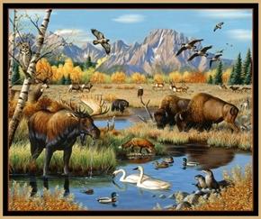 Great Plains Mixed Wildlife Animals Moose Buffalo Cotton Fabric Panel
