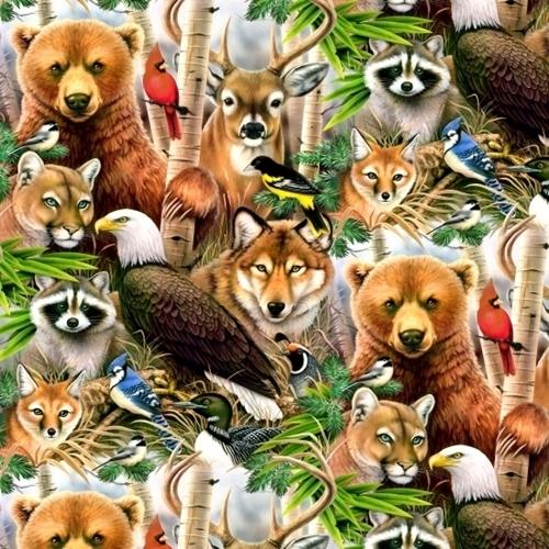 Wildlife Refuge Woodland Animals Eagle Fox Wolf Bear Cotton Fabric