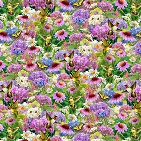 Beauty in Nature Hummingbirds Butterflies and Flowers Cotton Fabric