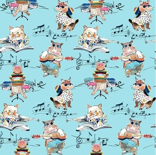 Musical Cats Hip Cat Rehearsal Music Band on Blue Cotton Fabric
