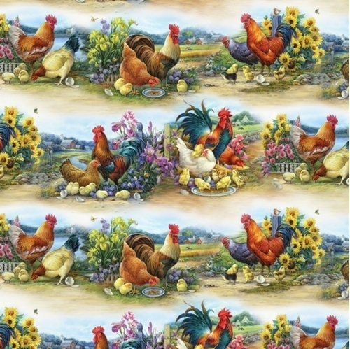 Joyful Countryside Chickens Roosters and Chicks in Rows Cotton Fabric