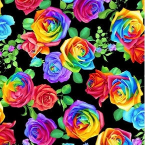 Rainbow Rose Large Rainbow Roses Colorful Flower Black Cotton Fabric