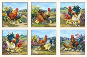 Joyful Countryside Chickens Roosters 24x44 Cream Cotton Fabric Panel