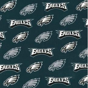 NFL Football Philadelphia Eagles Silver Glitter 2018 Cotton Fabric