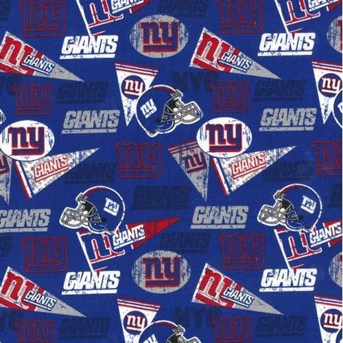 NFL Football New York Giants Logos Pennants Retro Blue Cotton Fabric