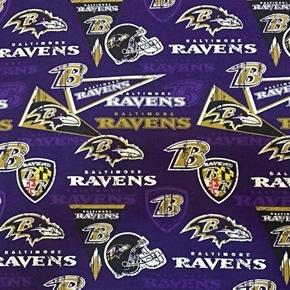 NFL Football Baltimore Ravens Logos Pennants Retro Cotton Fabric