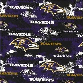 NFL Football Baltimore Ravens Distressed Look Purple Cotton Fabric