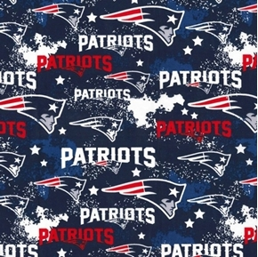 NFL Football New England Patriots Distressed Look Blue Cotton Fabric