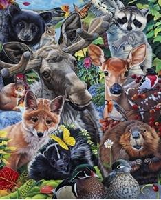 New England Wildlife Animal Selfies Beaver Bear Cotton Fabric Panel