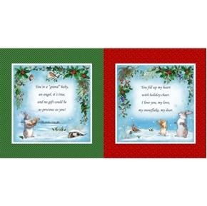 Grandma's Christmas Wish Bunnies in Snow 23x44 Cotton Pillow Panel Set