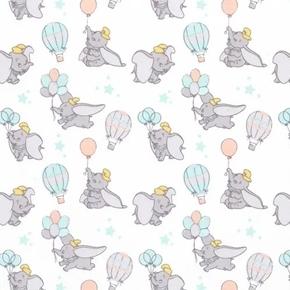 Disney Dumbo My Little Circus Elephant Balloons White Cotton Fabric
