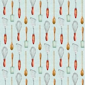 Farmhouse Kitchen Utensils Spatula Whisk Spoon Green Cotton Fabric